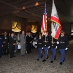 The California State Honor Guard presenting the Colors and branch flags at the 89th Host Breakfast.