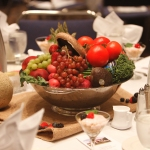 Seasonal fruits and vegetables serve as wonderful centerpieces provided by Michael Marks of Get Fresh Communications, Inc.